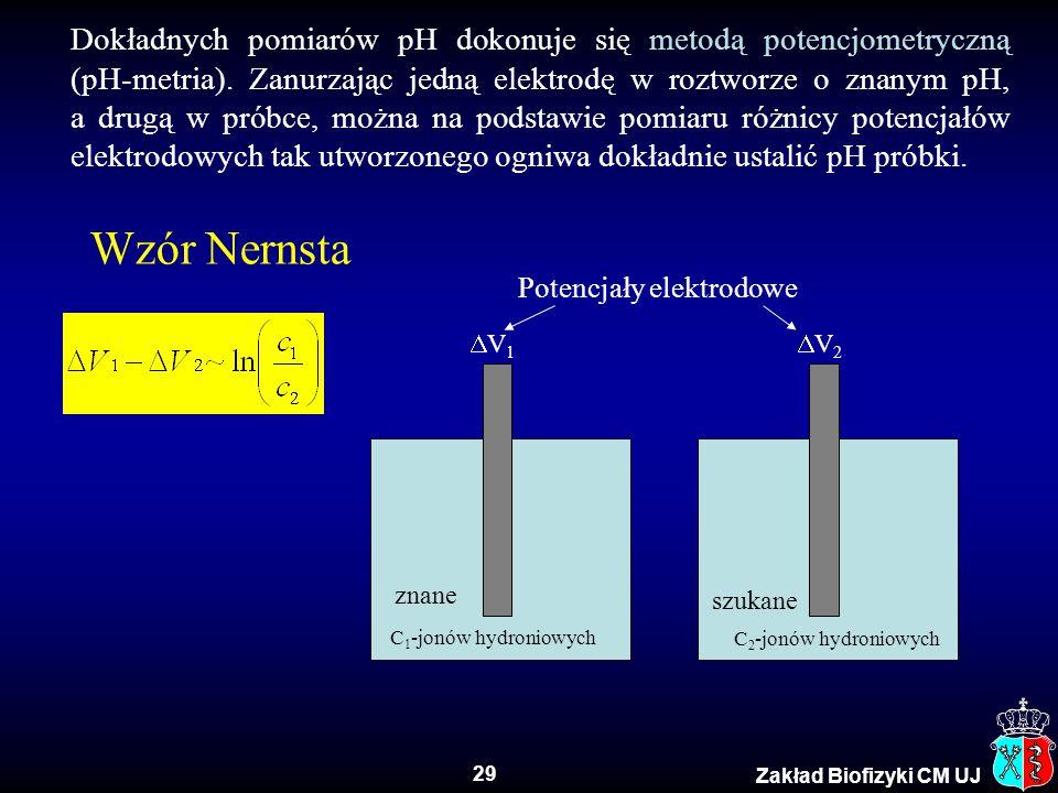 29 Zakład Biofizyki CM UJ Dokładnych pomiarów pH dokonuje się metodą potencjometryczną (pH-metria). Zanurzając jedną elektrodę w roztworze o znanym pH
