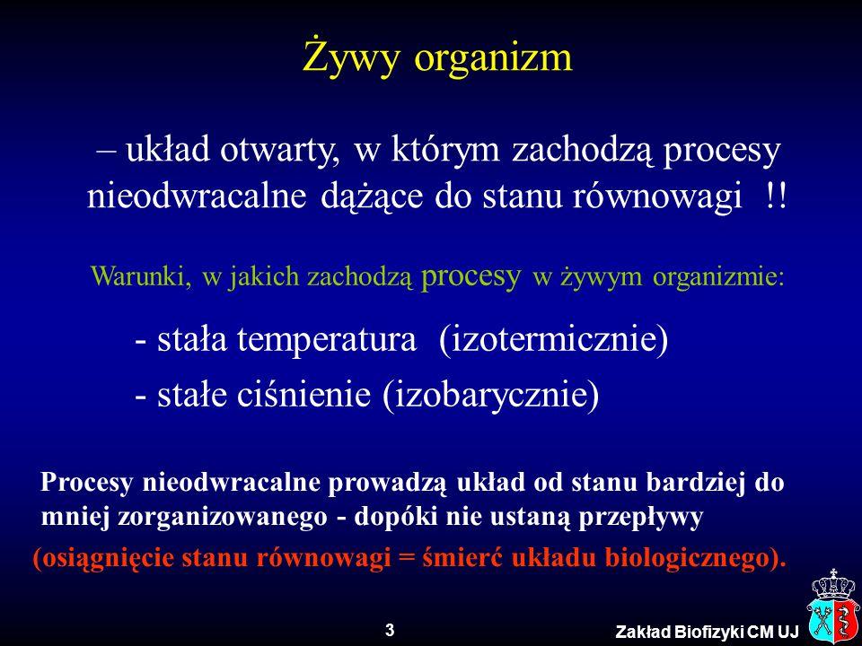 3 Zakład Biofizyki CM UJ Żywy organizm – układ otwarty, w którym zachodzą procesy nieodwracalne dążące do stanu równowagi !! Warunki, w jakich zachodz