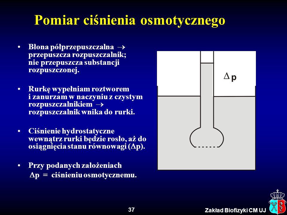 37 Zakład Biofizyki CM UJ Pomiar ciśnienia osmotycznego Błona półprzepuszczalna  przepuszcza rozpuszczalnik; nie przepuszcza substancji rozpuszczonej