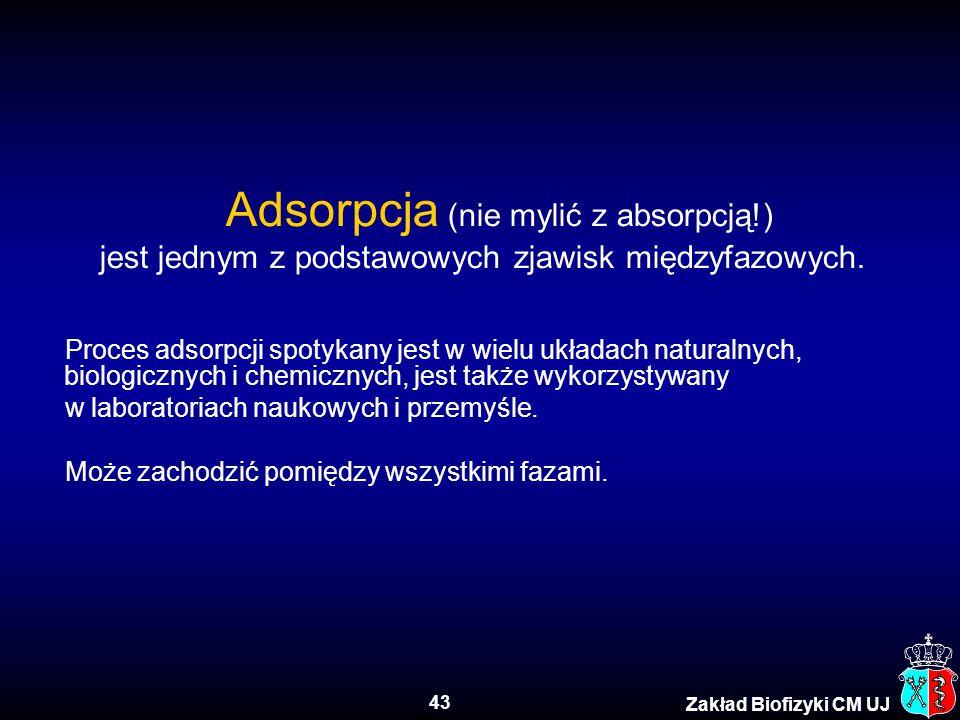 43 Zakład Biofizyki CM UJ Adsorpcja (nie mylić z absorpcją!) jest jednym z podstawowych zjawisk międzyfazowych. Proces adsorpcji spotykany jest w wiel