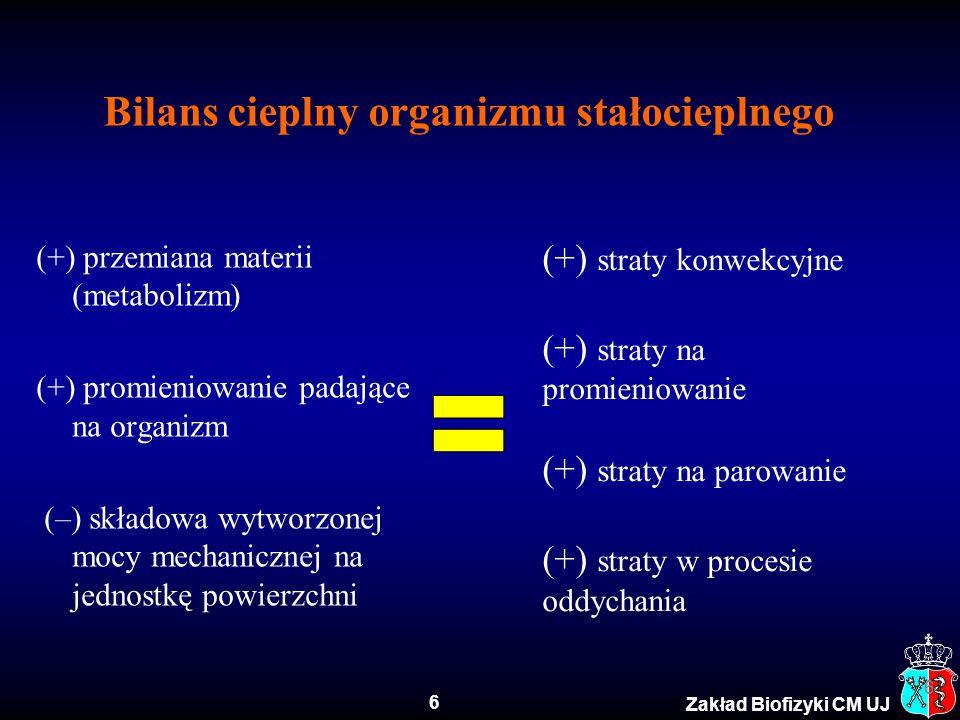 7 Zakład Biofizyki CM UJ II zasada termodynamiki w odniesieniu do organizmu żywego  H = W e + Q m  H - zmiana entalpii na skutek utleniania substancji odżywczych W e - praca zewnętrzna wykonywana przez organizm Q m - ciepło metabolizmu Organizm człowieka przekształca energię chemiczną w pracę mechaniczną.