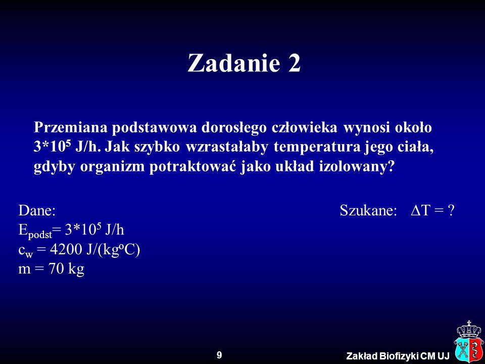 30 Zakład Biofizyki CM UJ Przykładowe wartości pH SubstancjapH 1 M kwas solny0 Kwas akumulatorowy< 1,0 Kwas żołądkowy1,5 – 2 Sok cytrynowy2,4 Coca-cola2,5 Ocet2,9 Sok pomarańczowy3,5 Piwo4,5 Kawa5,0 Herbata5,5 Kwaśny deszcz< 5,6 Mleko6,5 Czysta woda7 Ślina człowieka6,5 – 7,4 Krew7,1 – 7,4 Woda morska8,0 Mydło9,0 – 10,0 Wodorotlenek amonu11,5 Wodorotlenek wapnia12,5 1 M roztwór NaOH14 Kwaśny Zasadowy Obojętny