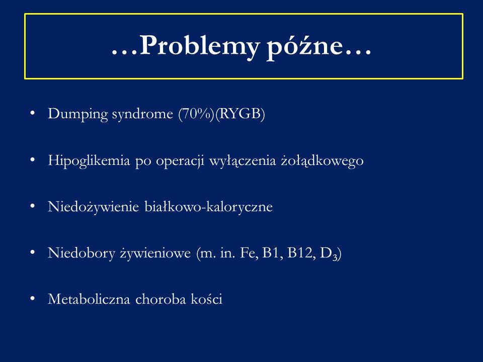 …Problemy późne… Dumping syndrome (70%)(RYGB) Hipoglikemia po operacji wyłączenia żołądkowego Niedożywienie białkowo-kaloryczne Niedobory żywieniowe (