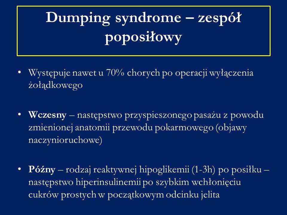 Dumping syndrome – zespół poposiłowy Występuje nawet u 70% chorych po operacji wyłączenia żołądkowego Wczesny – następstwo przyspieszonego pasażu z po
