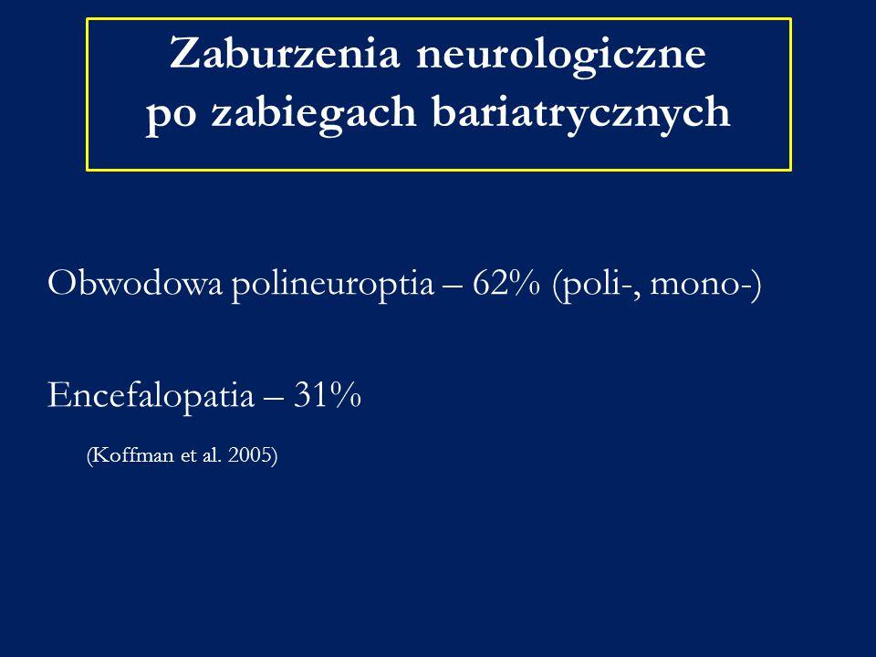 Zaburzenia neurologiczne po zabiegach bariatrycznych Obwodowa polineuroptia – 62% (poli-, mono-) Encefalopatia – 31% (Koffman et al. 2005)