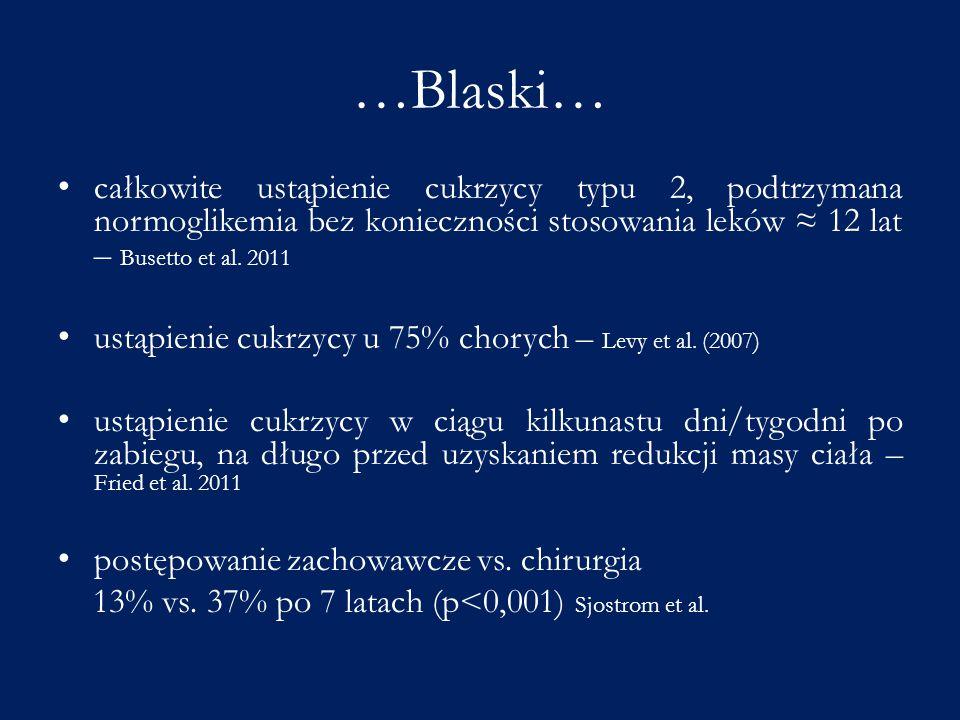 …Blaski… całkowite ustąpienie cukrzycy typu 2, podtrzymana normoglikemia bez konieczności stosowania leków ≈ 12 lat – Busetto et al. 2011 ustąpienie c