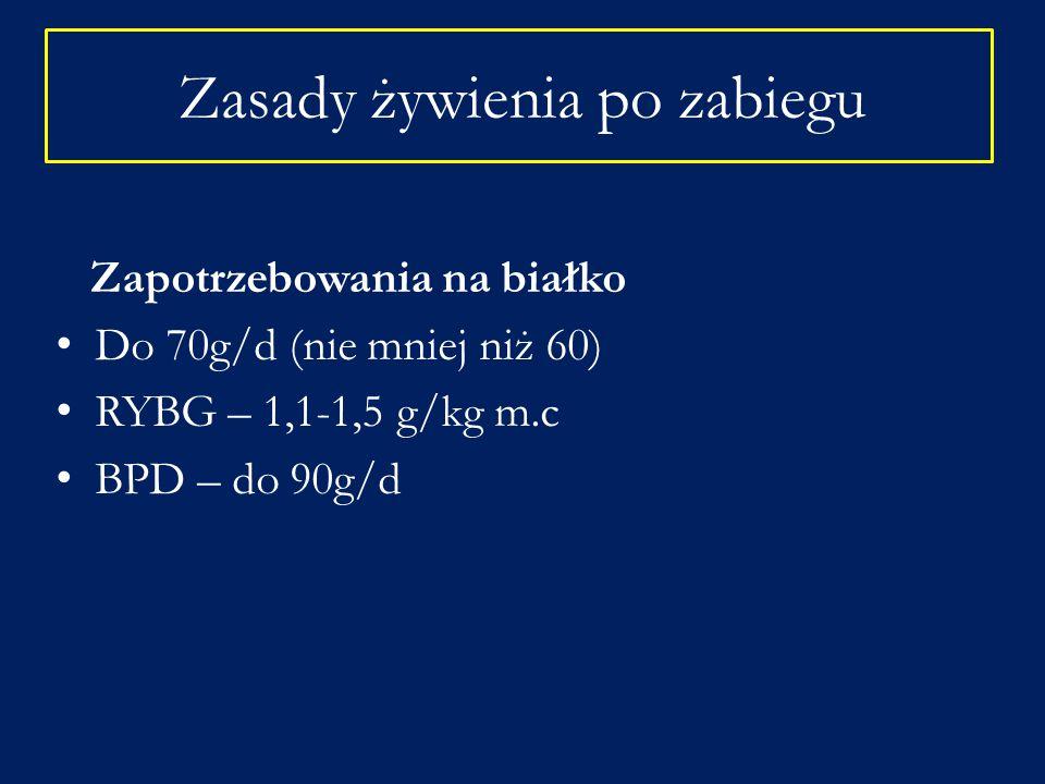 Zapotrzebowania na białko Do 70g/d (nie mniej niż 60) RYBG – 1,1-1,5 g/kg m.c BPD – do 90g/d Zasady żywienia po zabiegu