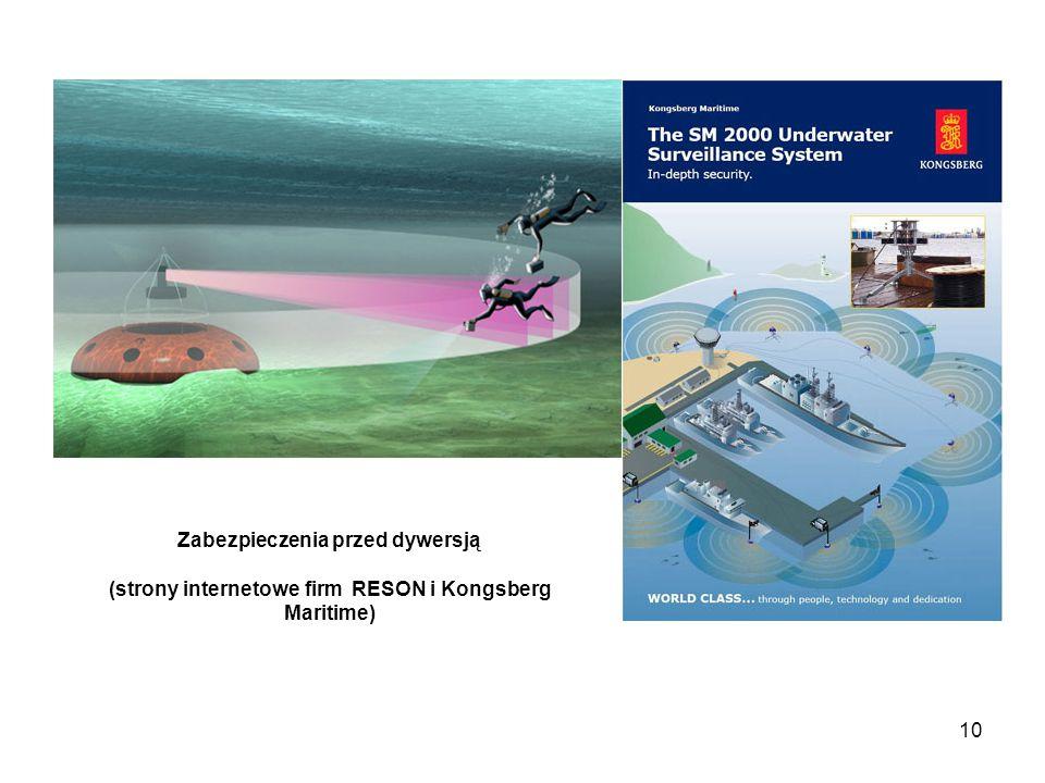10 Zabezpieczenia przed dywersją (strony internetowe firm RESON i Kongsberg Maritime)