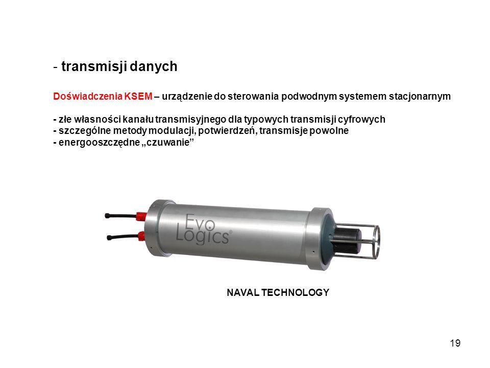 19 - transmisji danych Doświadczenia KSEM – urządzenie do sterowania podwodnym systemem stacjonarnym - złe własności kanału transmisyjnego dla typowyc