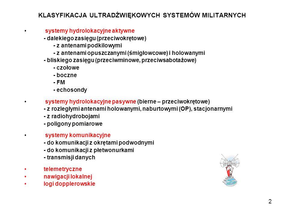 2 KLASYFIKACJA ULTRADŹWIĘKOWYCH SYSTEMÓW MILITARNYCH systemy hydrolokacyjne aktywne - dalekiego zasięgu (przeciwokrętowe) - z antenami podkilowymi - z