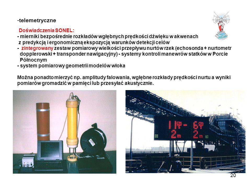 20 -telemetryczne Doświadczenia SONEL: - mierniki bezpośrednie rozkładów wgłębnych prędkości dźwięku w akwenach z predykcją i ergonomiczną ekspozycją