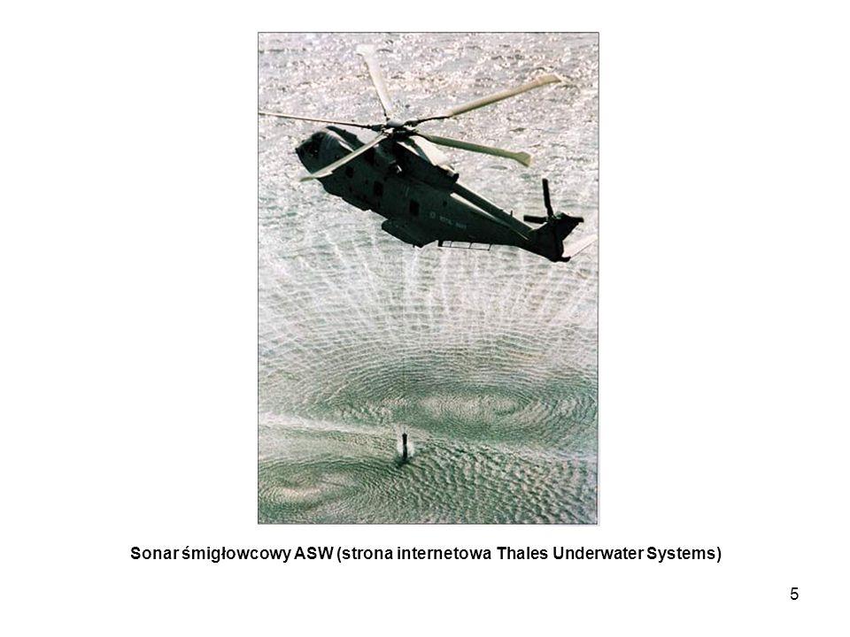 6 Zespoły okrętowego sonaru ASW: - cylindryczna (dookólna) antena podkilowa - holowany nośnik anteny - konsola operatora sonaru (strona internetowa ATLAS ELEKTRONIK Sonar Systems)