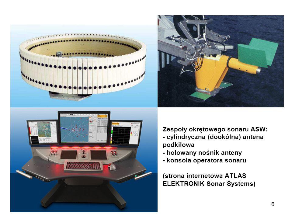 6 Zespoły okrętowego sonaru ASW: - cylindryczna (dookólna) antena podkilowa - holowany nośnik anteny - konsola operatora sonaru (strona internetowa AT