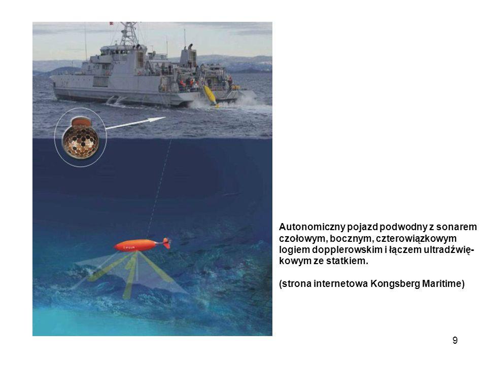 9 Autonomiczny pojazd podwodny z sonarem czołowym, bocznym, czterowiązkowym logiem dopplerowskim i łączem ultradźwię- kowym ze statkiem. (strona inter