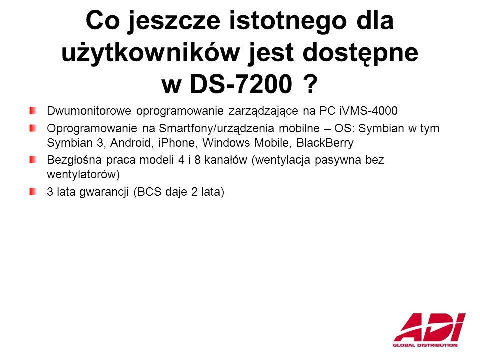 Co jeszcze istotnego dla użytkowników jest dostępne w DS-7200 .