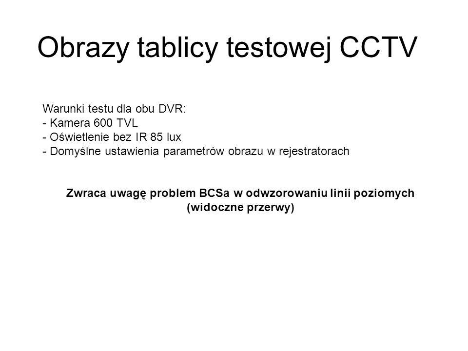 Obrazy tablicy testowej CCTV Warunki testu dla obu DVR: - Kamera 600 TVL - Oświetlenie bez IR 85 lux - Domyślne ustawienia parametrów obrazu w rejestratorach Zwraca uwagę problem BCSa w odwzorowaniu linii poziomych (widoczne przerwy)