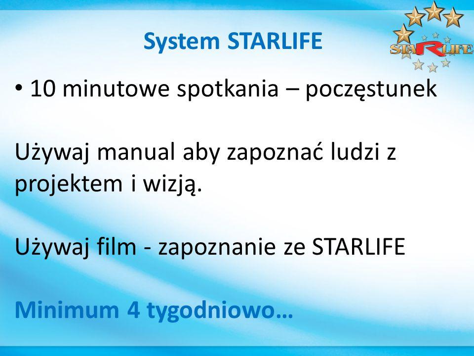 System STARLIFE 10 minutowe spotkania – poczęstunek Używaj manual aby zapoznać ludzi z projektem i wizją.