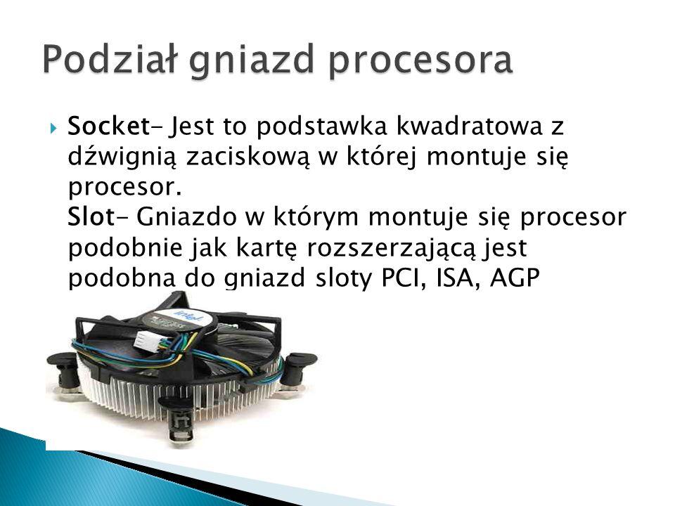  Socket- Jest to podstawka kwadratowa z dźwignią zaciskową w której montuje się procesor.