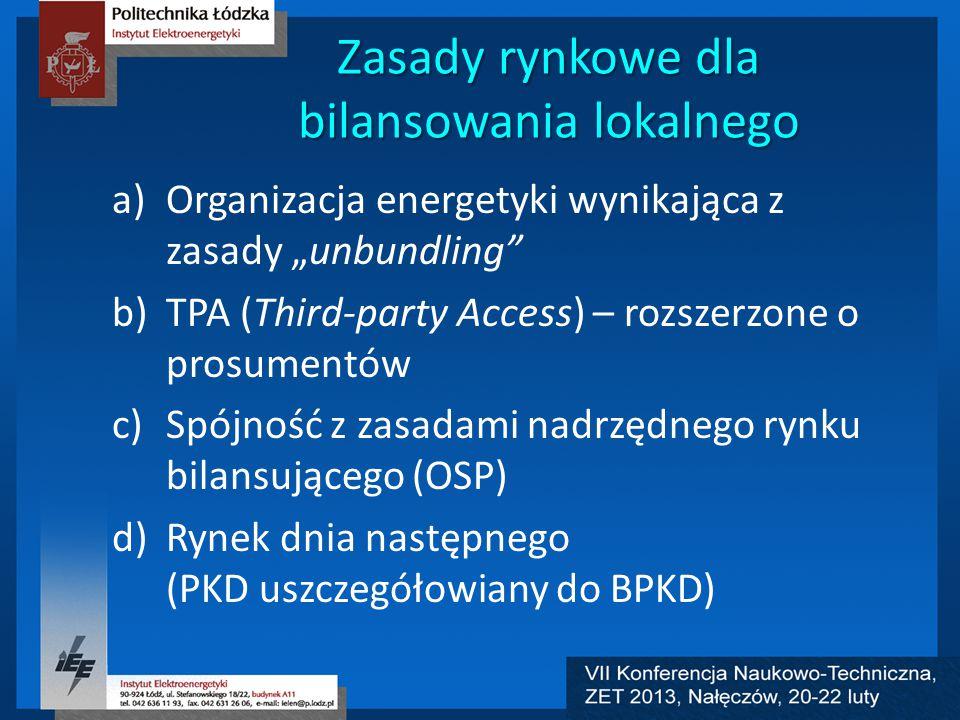 """Zasady rynkowe dla bilansowania lokalnego a)Organizacja energetyki wynikająca z zasady """"unbundling b)TPA (Third-party Access) – rozszerzone o prosumentów c)Spójność z zasadami nadrzędnego rynku bilansującego (OSP) d)Rynek dnia następnego (PKD uszczegółowiany do BPKD)"""