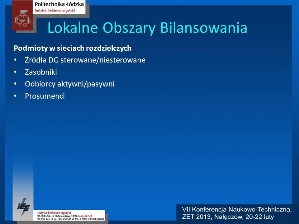 Lokalne Obszary Bilansowania Podmioty w sieciach rozdzielczych Źródła DG sterowane/niesterowane Zasobniki Odbiorcy aktywni/pasywni Prosumenci