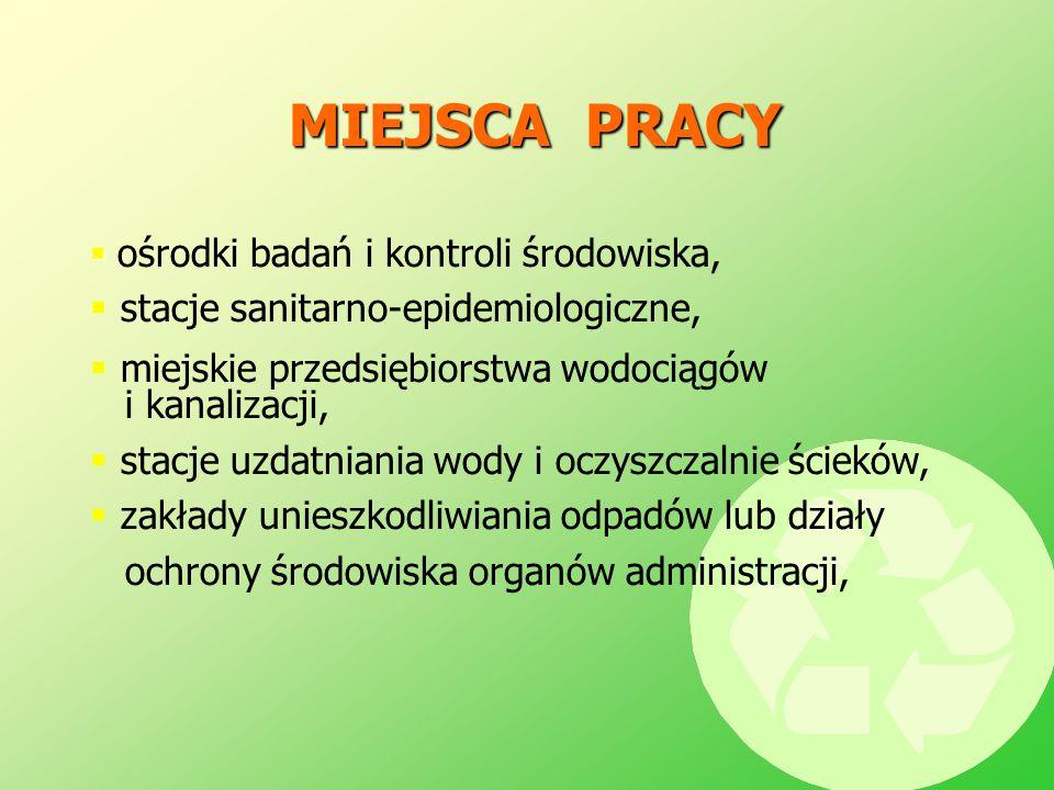 MIEJSCA PRACY   ośrodki badań i kontroli środowiska,  stacje sanitarno-epidemiologiczne,  miejskie przedsiębiorstwa wodociągów i kanalizacji,  st