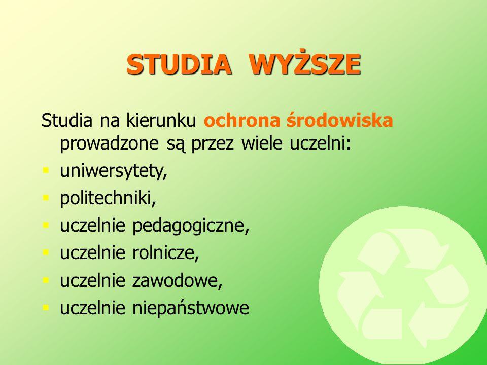 STUDIA WYŻSZE Studia na kierunku ochrona środowiska prowadzone są przez wiele uczelni:  uniwersytety,  politechniki,  uczelnie pedagogiczne,  ucze
