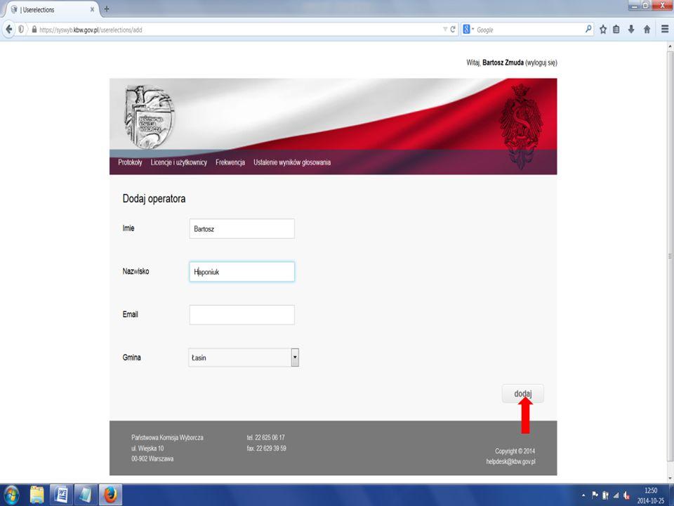 Aby zatwierdzić licencję operatora/przewodniczącego okw, Pełnomocnik TKW loguje się do Syswyba