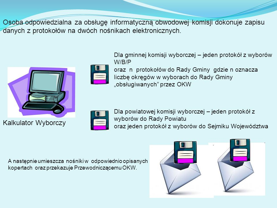Kalkulator Wyborczy Osoba odpowiedzialna za obsługę informatyczną obwodowej komisji dokonuje zapisu danych z protokołów na dwóch nośnikach elektronicznych.