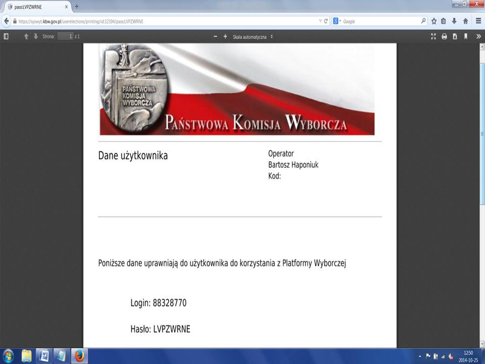 Przewodniczących można znaleźć w Syswybie za pomocą wyszukiwarki i tam wygenerować dla nich login i hasło