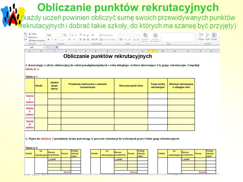 Obliczanie punktów rekrutacyjnych (każdy uczeń powinien obliczyć sumę swoich przewidywanych punktów rekrutacyjnych i dobrać takie szkoły, do których m