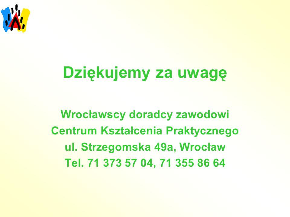 Dziękujemy za uwagę Wrocławscy doradcy zawodowi Centrum Kształcenia Praktycznego ul. Strzegomska 49a, Wrocław Tel. 71 373 57 04, 71 355 86 64