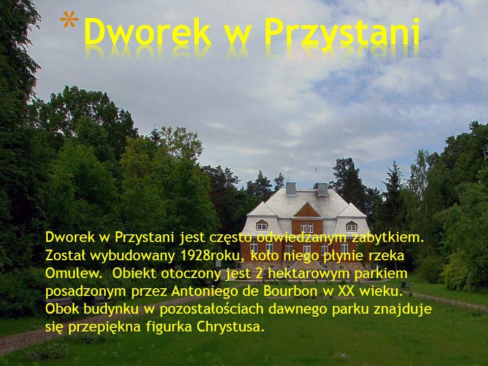 * W naszej miejscowości znajduje się plac zabaw i boisko otoczone lasem.