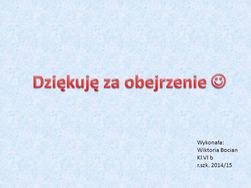Wykonała: Wiktoria Bocian Kl VI b r.szk. 2014/15