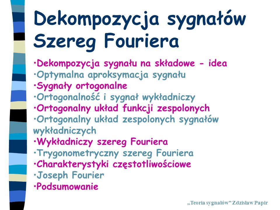 """Optymalna aproksymacja """"Teoria sygnałów Zdzisław Papir"""