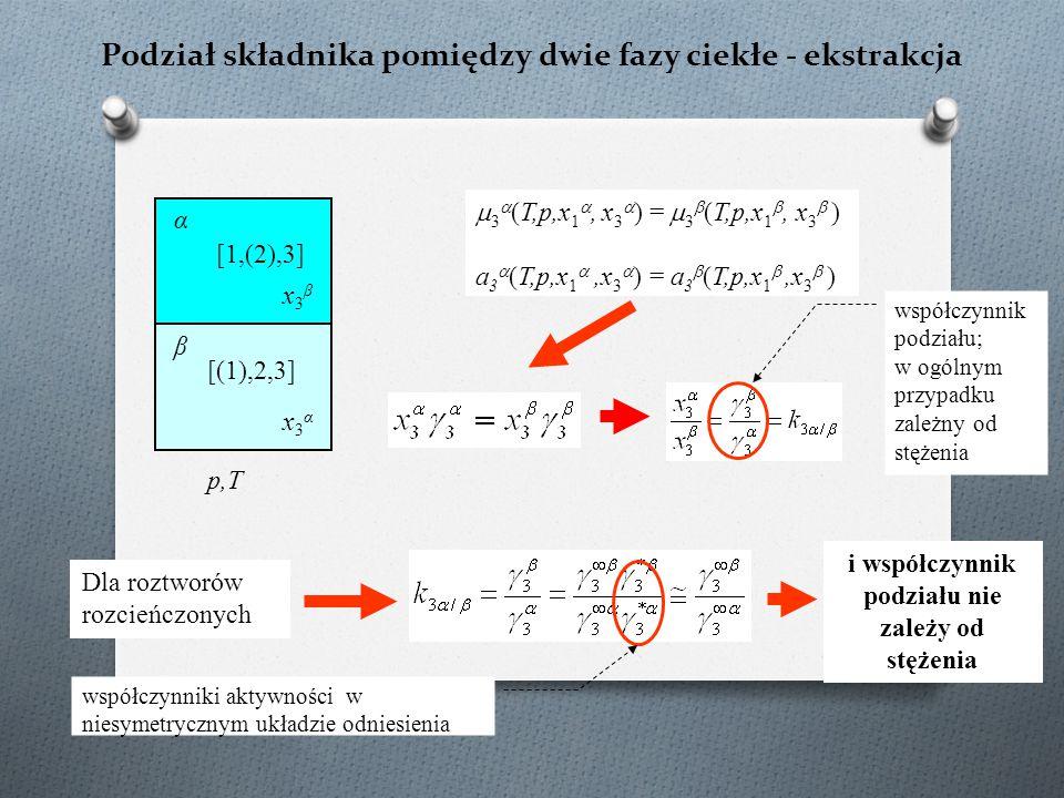 Podział składnika pomiędzy dwie fazy ciekłe - ekstrakcja p,T  3  (T,p,x 1 , x 3  ) =  3  (T,p,x 1 , x 3  ) a 3  (T,p,x 1 ,x 3  ) = a 3  (T