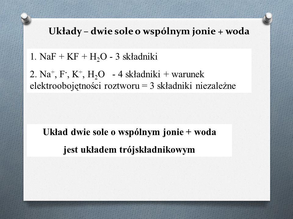 Układy – dwie sole o wspólnym jonie + woda 1. NaF + KF + H 2 O - 3 składniki 2. Na +, F -, K +, H 2 O - 4 składniki + warunek elektroobojętności roztw