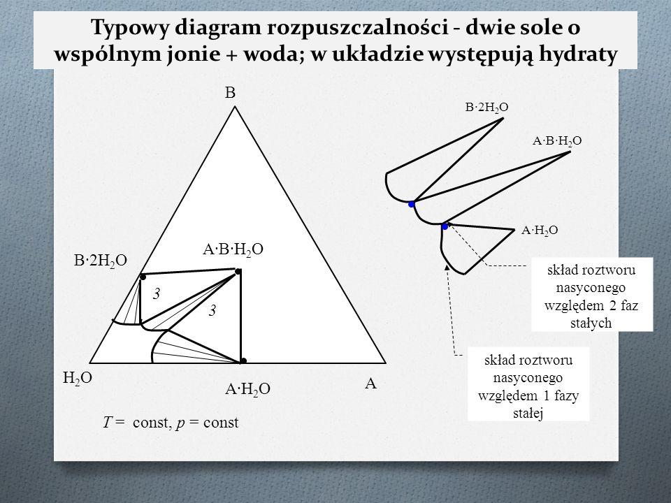B B·2H 2 O A·H2OA·H2O H2OH2O A A·B·H2OA·B·H2O T = const, p = const 3 3 Typowy diagram rozpuszczalności - dwie sole o wspólnym jonie + woda; w układzie