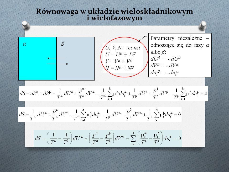 Równowaga w układzie wieloskładnikowym i wielofazowym U, V, N = const U = U  + U  V = V  + V  N = N  + N  αβ Parametry niezależne – odnoszące si