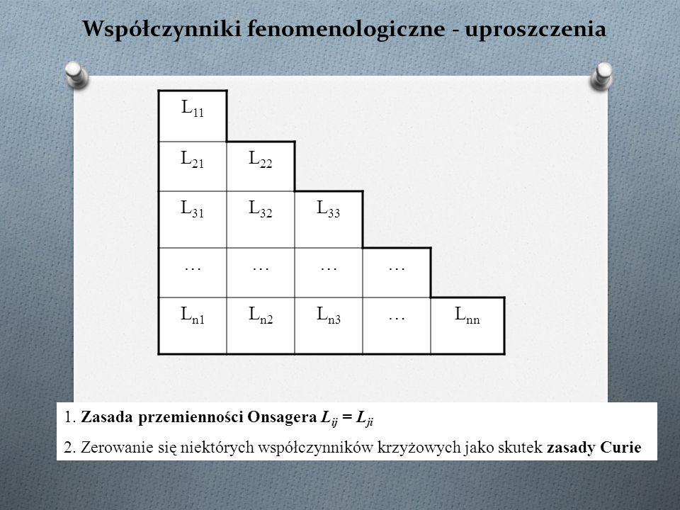 Współczynniki fenomenologiczne - uproszczenia L 11 L 21 L 22 L 31 L 32 L 33 ………… L n1 L n2 L n3 …L nn 1. Zasada przemienności Onsagera L ij = L ji 2.