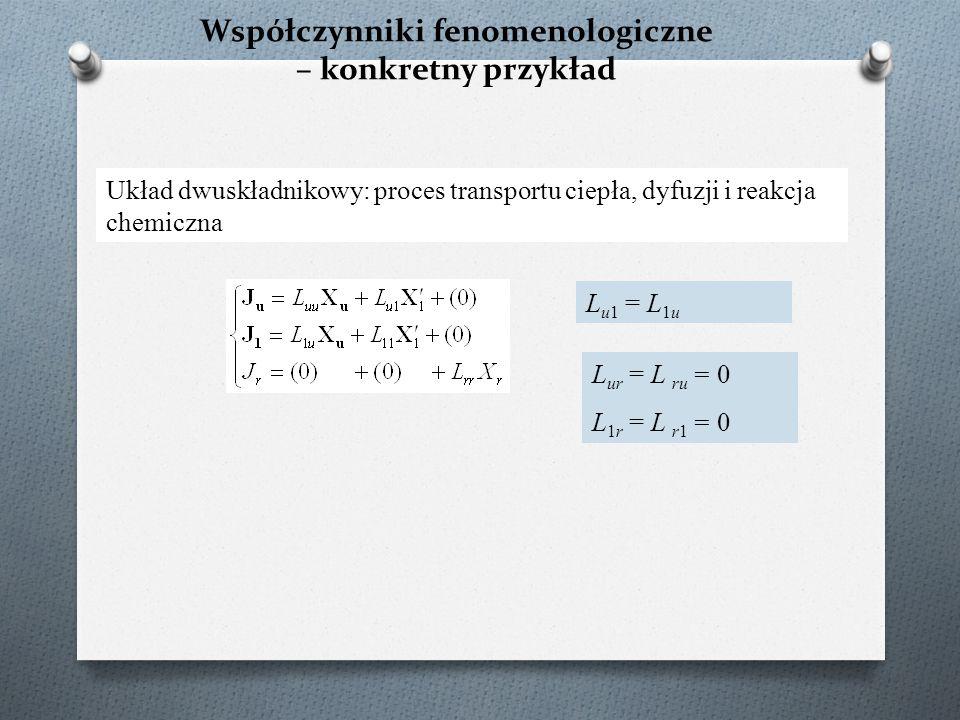 Współczynniki fenomenologiczne – konkretny przykład Układ dwuskładnikowy: proces transportu ciepła, dyfuzji i reakcja chemiczna L u1 = L 1u L ur = L r