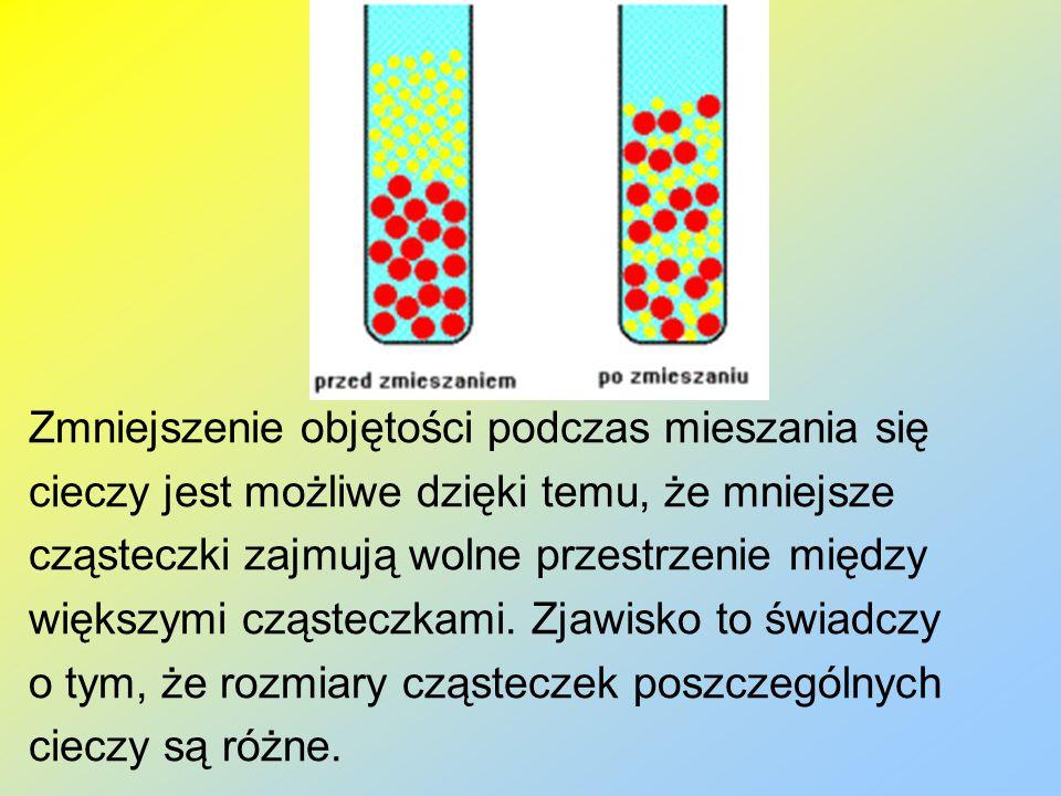 Zmniejszenie objętości podczas mieszania się cieczy jest możliwe dzięki temu, że mniejsze cząsteczki zajmują wolne przestrzenie między większymi cząst