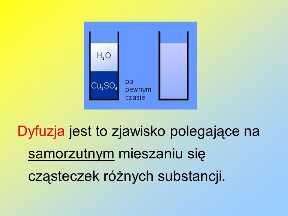 Dyfuzja zachodzi w gazach, cieczach i ciałach stałych.
