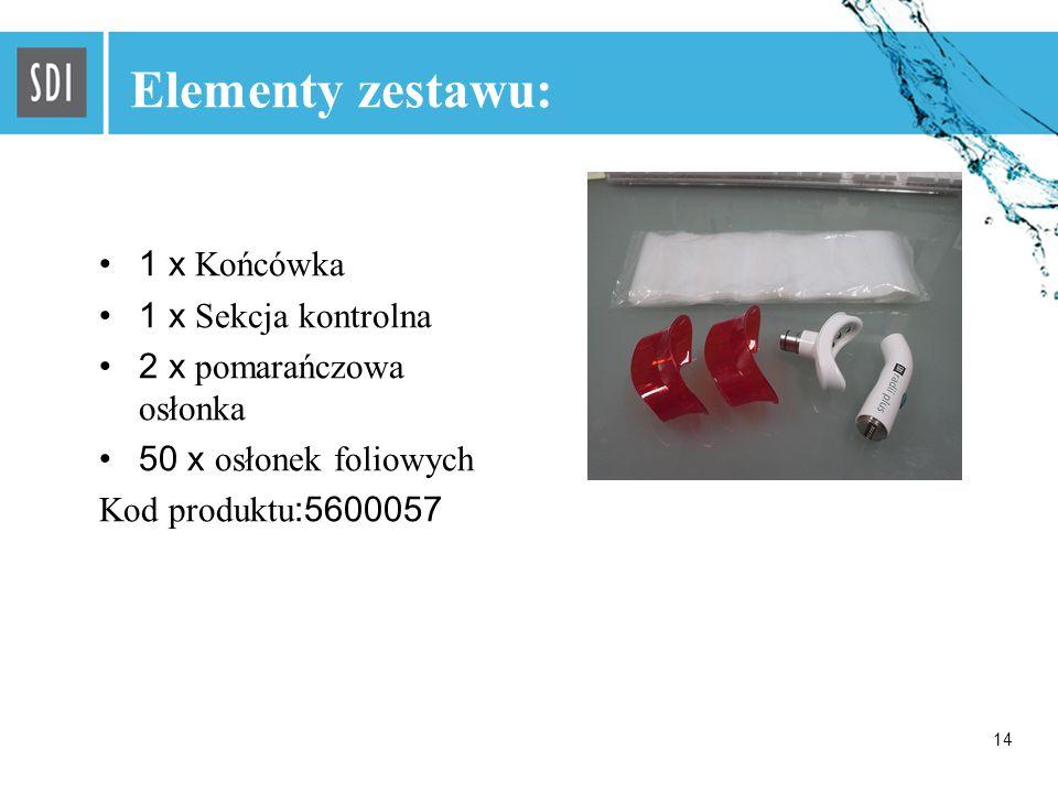14 Elementy zestawu: 1 x Końcówka 1 x Sekcja kontrolna 2 x pomarańczowa osłonka 50 x osłonek foliowych Kod produktu :5600057