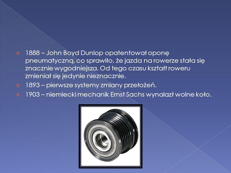  1888 – John Boyd Dunlop opatentował oponę pneumatyczną, co sprawiło, że jazda na rowerze stała się znacznie wygodniejsza. Od tego czasu kształt rowe