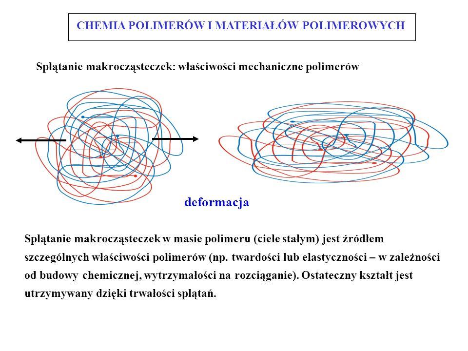 RODZAJE SPLĄTAŃ I POŁĄCZEŃ splot (fragment) węzeł hak zjawiska występujące w trakcie deformacji efekt elastyczny przemieszczenie efekt dysypatywny (lepki): poślizg łańcuchów CHEMIA POLIMERÓW I MATERIAŁÓW POLIMEROWYCH