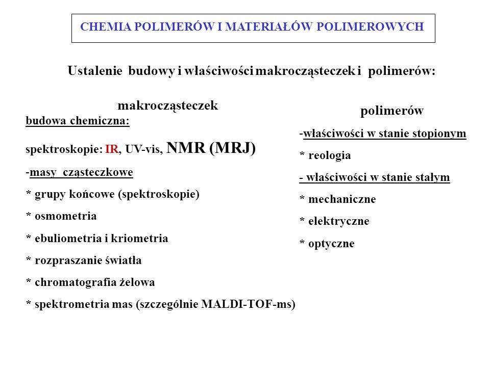 makrocząsteczek budowa chemiczna: spektroskopie: IR, UV-vis, NMR (MRJ) -masy cząsteczkowe * grupy końcowe (spektroskopie) * osmometria * ebuliometria i kriometria * rozpraszanie światła * chromatografia żelowa * spektrometria mas (szczególnie MALDI-TOF-ms) polimerów -właściwości w stanie stopionym * reologia - właściwości w stanie stałym * mechaniczne * elektryczne * optyczne Ustalenie budowy i właściwości makrocząsteczek i polimerów: CHEMIA POLIMERÓW I MATERIAŁÓW POLIMEROWYCH