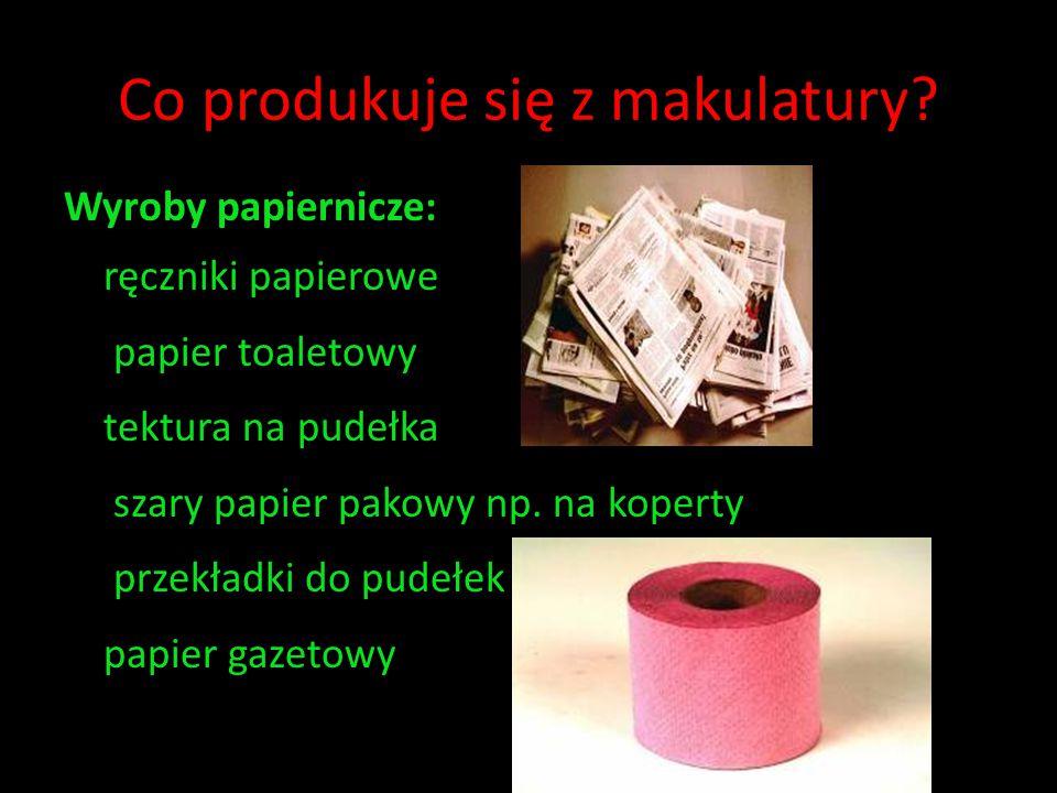Co produkuje się z makulatury? Wyroby papiernicze: ręczniki papierowe papier toaletowy tektura na pudełka szary papier pakowy np. na koperty przekładk