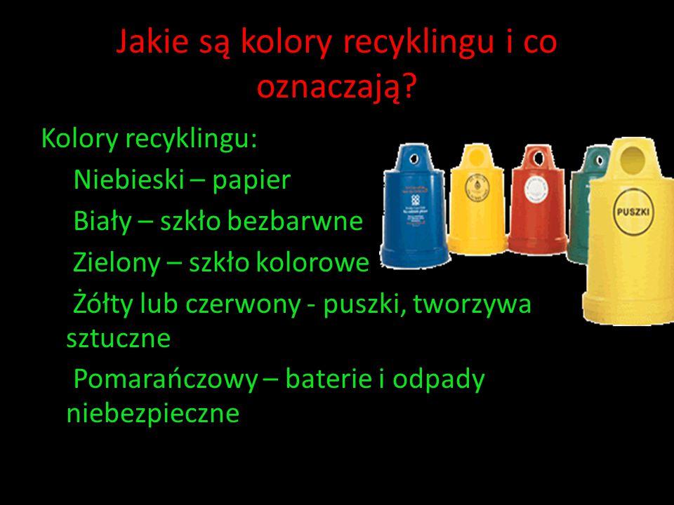 Jakie są kolory recyklingu i co oznaczają? Kolory recyklingu: Niebieski – papier Biały – szkło bezbarwne Zielony – szkło kolorowe Żółty lub czerwony -
