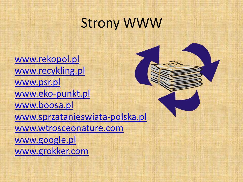 Strony WWW www.rekopol.pl www.recykling.pl www.psr.pl www.eko-punkt.pl www.boosa.pl www.sprzatanieswiata-polska.pl www.wtrosceonature.com www.google.p