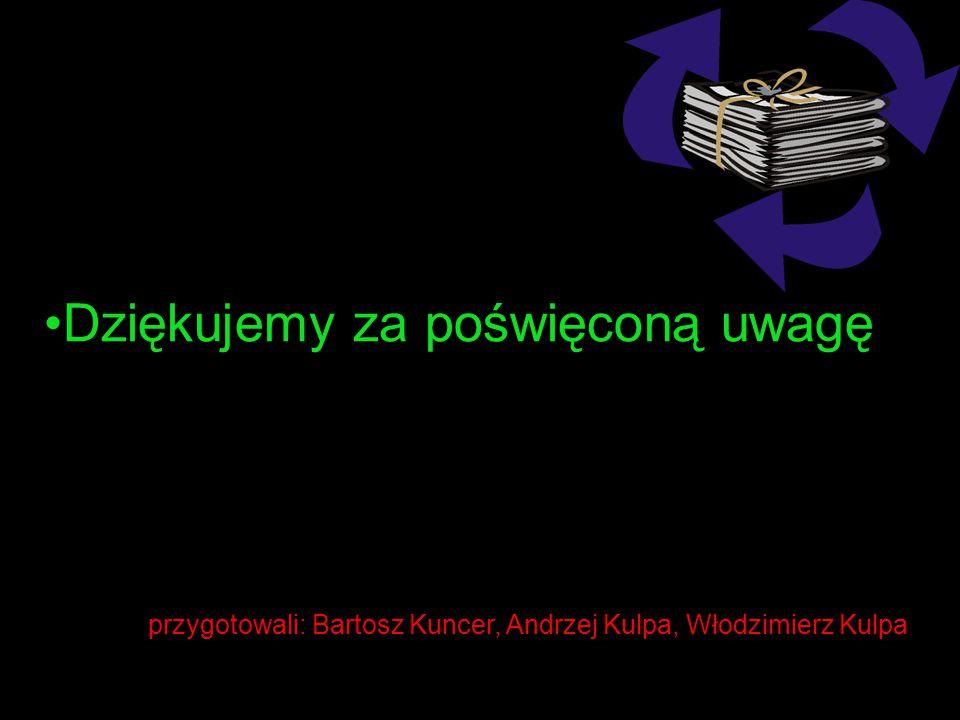 przygotowali: Bartosz Kuncer, Andrzej Kulpa, Włodzimierz Kulpa Dziękujemy za poświęconą uwagę